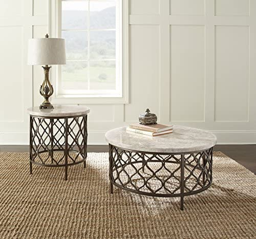 Best Steve Silver Roland Round White Stone Top with Bronze Metal Base End Table