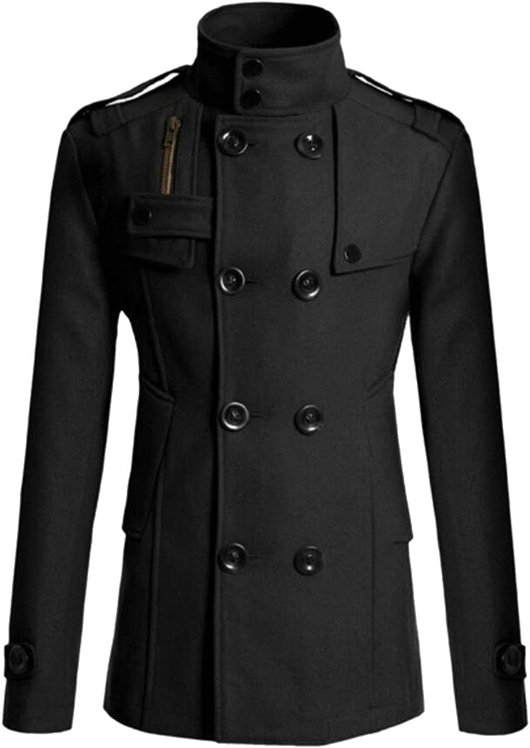 Maweisong Men Slim Fit Wool-Blend Double Breasted Collar Coat