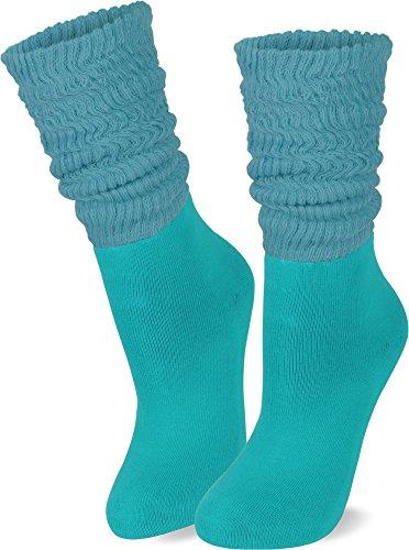normani 2 Paar Casual Couch Yoga Socken mit raffbarem Slouchschaft Farbe Petrol Größe 39/42