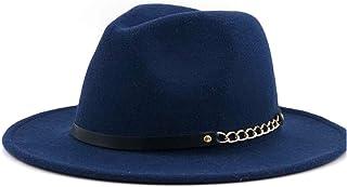 JAUROUXIYUJIN New 2019 Fashion Men Women Wool Fedora Hat Chain Leather Belt Outdoor Wool Felt Hat Panama Hat Jazz Hat (Color : Blue, Size : 56-58CM)