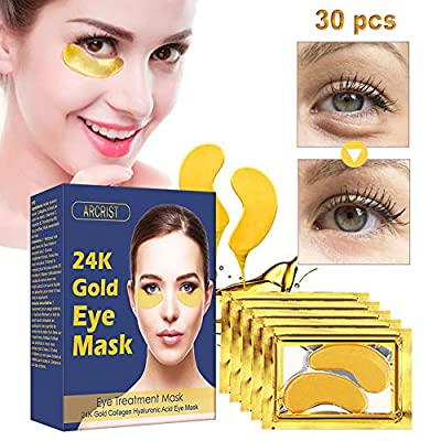Under Eye Mask, Collagen Eye Mask, 24K Gold Eye Masks, Anti-Aging Under Eye Treatment Pads, Hydrogel Under Eye Patches For Brightens & Reducing Wrinkles, Dark Circles, Eye Bags and Puffiness/15 Pairs from ARCRIST