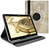 kwmobile Hülle kompatibel mit Samsung Galaxy Note 10.1 2014 Edition - 360° Tablet Schutzhülle Cover Hülle - Travel Vintage Braun Hellbraun