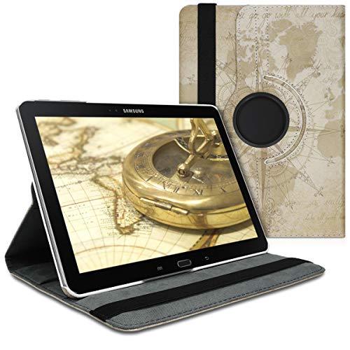 kwmobile Hülle kompatibel mit Samsung Galaxy Note 10.1 2014 Edition - 360° Tablet Schutzhülle Cover Case - Travel Vintage Braun Hellbraun