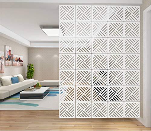 AMIPOS 12 Stück/Set Hängende Raumteiler Weiß DIY Panel Paravents Wandteiler Raumteiler Raumdeko mit allem Zubehör 29 x 29 cm (M4)