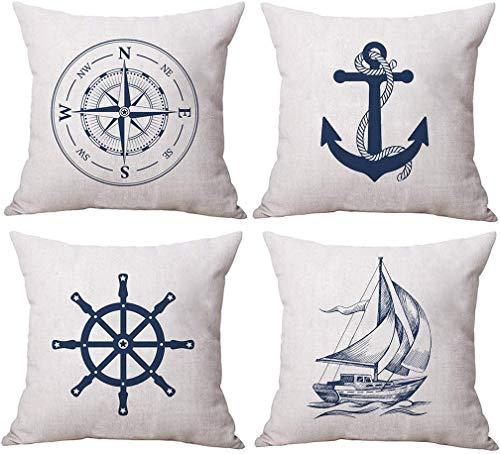 Coastal Sailing Throw Pillow Funda Brújula Azul / Ancla / Velero / Patrón de navegación Fundas de cojín con Tema del océano Fundas de Almohada Decorativas de Playa náutica 18 × 18 Pulgadas, Paquete d