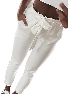 7164099ba882 SOMESUN Pantaloni Casual a Vita Alta con Elastico in da Donna Fiocco Bowtie  di Colore Puro