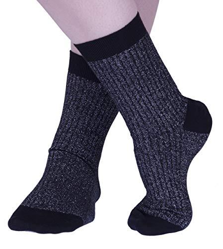 Pantherella Damen Larissa Funkeln Gerippt Cotton Kaschmir Socks Pack of 1 Schwarz 37-41