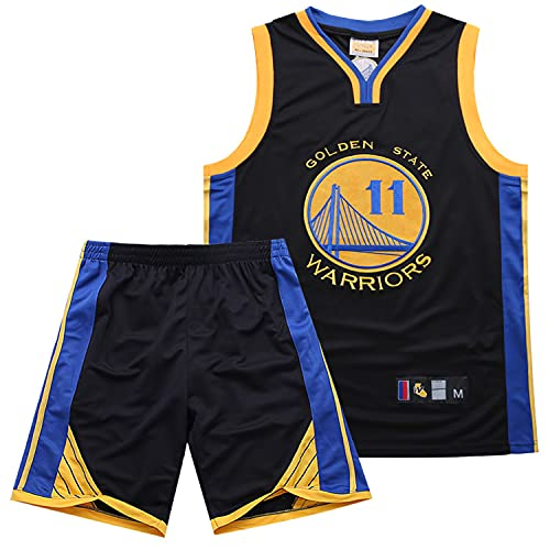 Ärmelloses Herren-Sporttrikot, Golden State Warriors Nr. 11, Klay Thompson-Basketballuniform,T-Shirt und Shorts Basketball T-Shirt Trikots Klassisches Jerseys,Schwarz,M