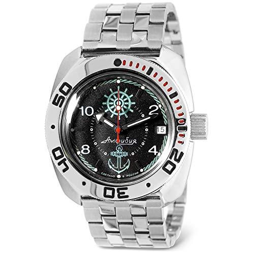 VOSTOK | Men's Amphibian Sea Captain Automatic Self-Winding Russian Diver Watch | WR 200 m | Model 710526 Solid Steel Bracelet