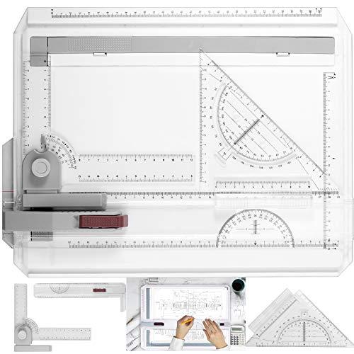 ESYNiC A4 37 x 30 cm Mesa de Dibujo Multifuncional con Sistema de Medición de Ángulo Ajustable Juego de Mesa de Dibujo con Transportador de Papel para Crear Dibujos o Planos Profesionales y Técnicos