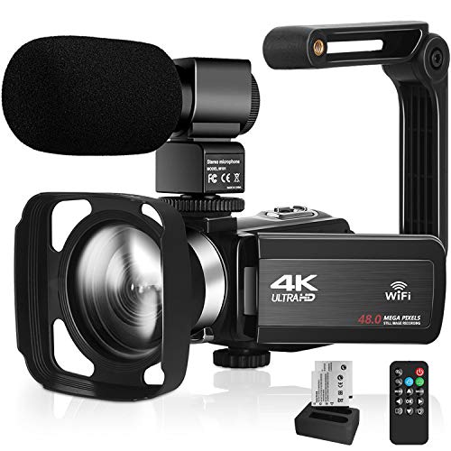 """4K UHD Video Camera for YouTube Vlogging Live Streaming Build-in Fill Light with Microphone & Remote Control WiFi Camcorder Webcam 16× Digital Zoom 3.0"""" IPS Touch Screen"""