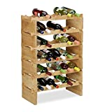 Relaxdays botellero Vino apilable hasta 36 Botellas, bambú, marrón, 6 Niveles
