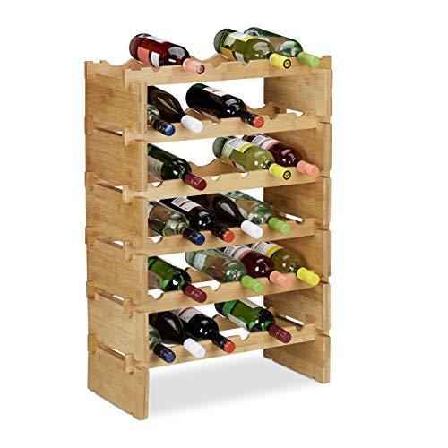Relaxdays Scaffale Porta, Rastrelliera per Bottiglie di Vino, Cantinetta Portabottiglie, bambù, Marrone Chiaro, 6 Piani