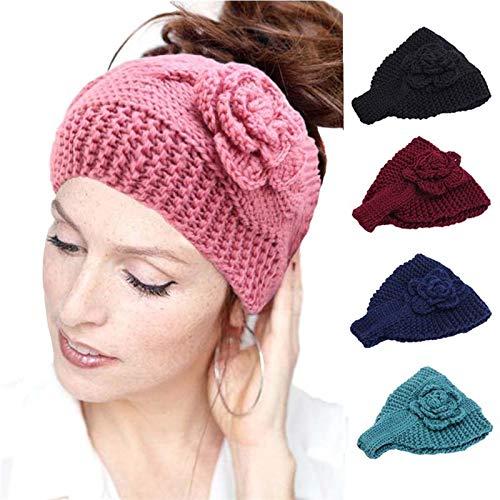 QCLU Moda Hecho a Mano Crochet Flor Headwrap Tejido Diadema Invierno Turban Mujere Diadema Invierno Oído Calentador Accesorios para el Cabello, Paquete de 5 (Color : A)