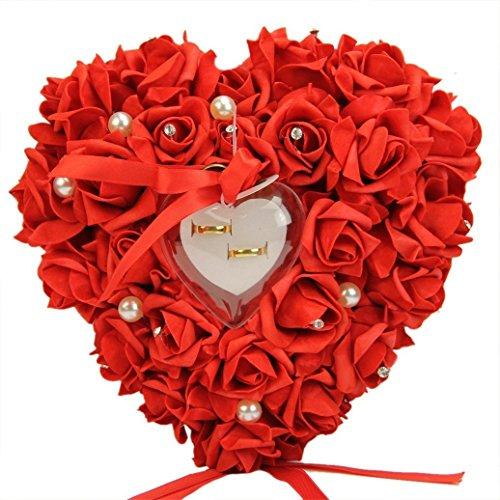 Zinsale Elegant Herzform Hochzeit Ringkissen Rose Ringschachtel mit Satin Blumen (Rot)