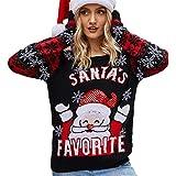 LXMR Suéter, señora, Set de Navidad suéter, Punto de Vista de Invierno, Bordado suéter de Punto Redondo Cuello Redondo Casual otoño Invierno Primavera Arriba C1-Medium
