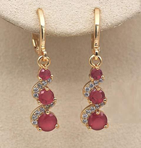 HoopsEarringsForWomen,Fashion Pink Zircon Long Pendant Hoop Earrings Hypoallergenic Lightweight Hoop Ring Circle Jewelry Earrings For Women Girls Party Wedding