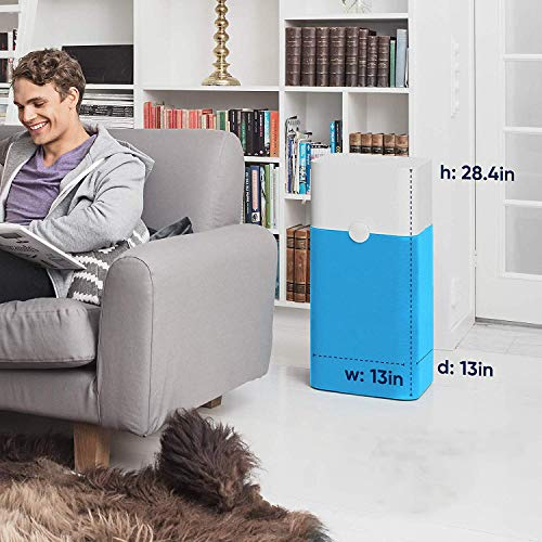 Blueair Blue Pure 121 Air Purifier 3 Stage with Two Washable Pre-Filters, Particle, Carbon Filter, Captures Allergens, Viruses, Odors, Smoke, Mold, Dust, Germs, Pets, Smokers, Large Rooms