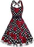 oten Vestidos 50s Vintage Rockabilly de Halterneck de Cóctel Fiesta de Las Mujeres