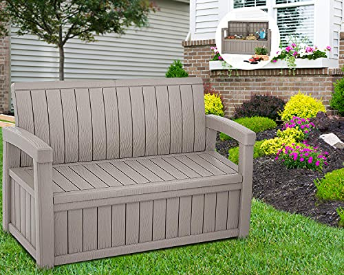 BPTD 49 Gallon Storage Bench Deck Box for Outdoor Patio Furniture Lightweight Resin Indoor/Outdoor Storage Container for Patio Furniture, Outdoor Cushions, Garden Tools and Pool Toys (Brown)