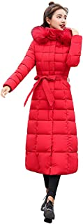 PENATE Women's Slim Down Jacket Girls Winter Warm Long Plush Hooded Cotton Coat