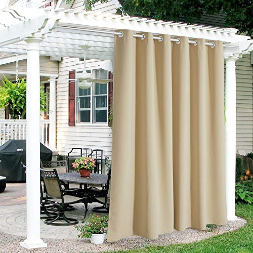RYB HOME Outdoor Curtains for Patio - Waterproof Blackout Solar Curtains for French Door Porch Pergola Cabana Outdoor Shower Arbor Balcony Deck, 84 inch Wide x 95 inch Long, 1 Pc, Bistotti Beige
