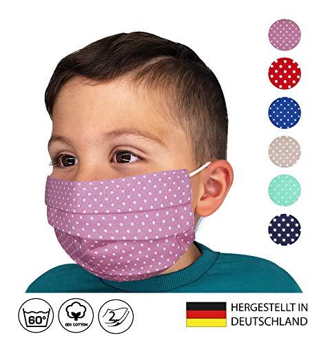 KINDER/JUGENDLICHE Facies ALTROSA weiß kleine Punkte für die Schule ab 4 Jahre wiederverwendbare Stoff Facies aus hochwertiger Baumwolle waschbar Mund und Nasenbedeckung
