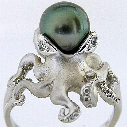 K Jewelry Cute 925 Silver Green Pearl Octopus Animals Women Jewelry Ring Wedding (8)