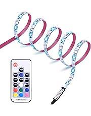 Diyife LED Strip 2,5M, 75 LEDs TV Achtergrondverlichting Lights, 5050 RGB, Voorspanning Neon Accentlicht, USB-Voeding, RF Afstandsbediening, 20 Statische Kleuren/22 Dynamische Modi