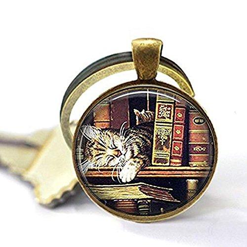 Vintage Bücher und Katze Schlüsselanhänger, Book Lover Schlüsselanhänger, Bücher und Katze , Einzigartige Schlüsselanhänger Key Ring Geschenk
