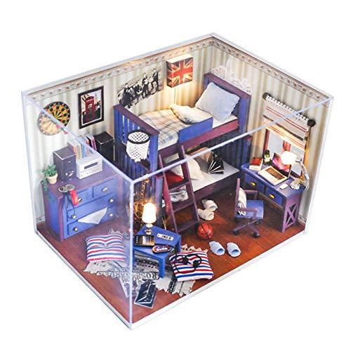 LIUCHANG DIY Miniatur-Puppenhaus, handgemachtes Mini 3D Holzhaus Modell-Handwerks-Kit mit staubfestem und LED-Leuchten Musikbewegung 1:24 Waage-Kreativraum liuchang20