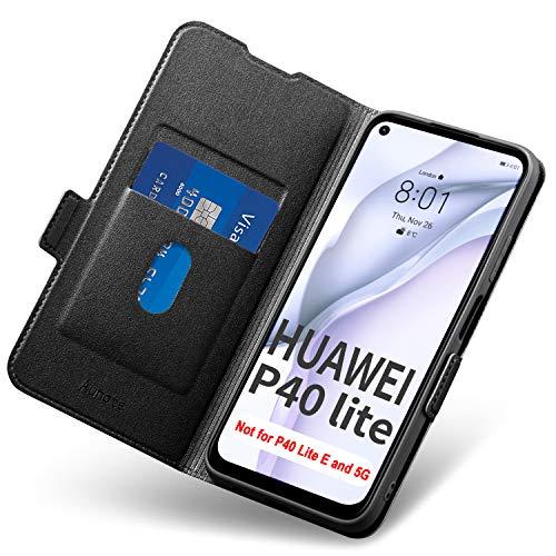 Aunote Hülle Huawei P40 Lite, Handyhülle Huawei P40 Lite, Schutzhülle Huawei P40 Lite, Klapphülle P40 Lite, Tasche P40 Lite, Etui Folio, Flip Phone Cover Hülle, P40 Lite Hülle Klappbar. (4G, Schwarz)