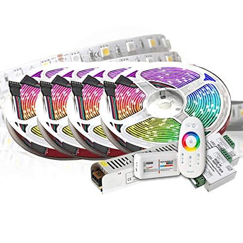 20M PREMIUM 24V RGB+WW RGBW LED Streifen LED Band LED Strip 5050 SMD RGB+Warmweiss LED Lichtleiste 1200LEDs 60LED's/M+controll mit RF TOUCH Fernbedienung +24v 12.5A 200W Netzteil SLIM STROMVERSORGUNG