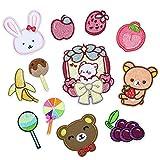 LZHLMCL Parche para planchar, 12 unidades, diseño de piruleta, tela de fresa, adhesivo bordado para niños, ropa de bebé, chaqueta de bricolaje, apliques decorativos para padres o niños