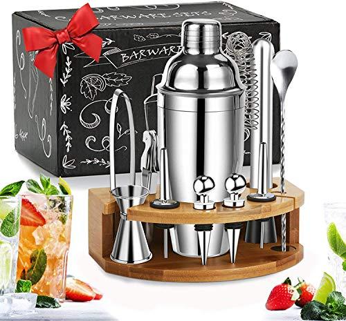 LINGLAN - Set di shaker per cocktail con supporto in bambù, 12 pezzi, in acciaio INOX, per Martini e ricette a coda di morso, 750ml