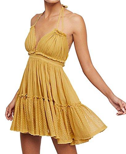 R.Vivimos Womens Summer Halter Deep V Neck Sexy Patchwork Mini Short Dresses (S, Yellow)
