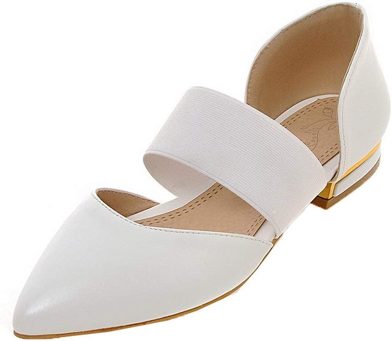WeiPoot Woherrar Pu Solid pull -on Closed -Toe -Toe -Toe Low -klackar Sandals, EGHLH007697  incitament främjande