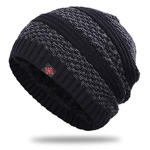 Herren Damen Beanie Winter Mütze Warm Strickmütze Hat Gefütterte Mit Weichem Fleece Innenfutter Für Warme Ohren Stretchmaterial(Schwarz)
