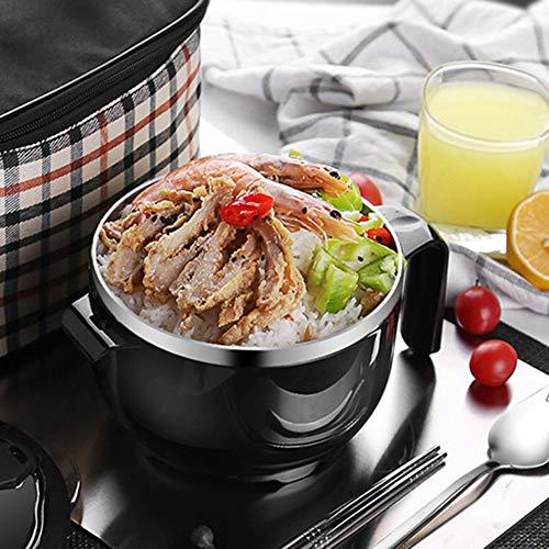 Tazón de fideos 1200ml Envase de comida negro con ergonómico para el hogar para frutas