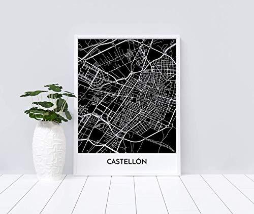 Mapa decorativo de Castellón de la Plana