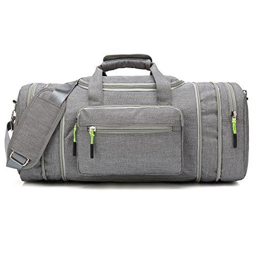 Kenox Oversized Canvas Travel Tote Luggage Weekend Duffel Bag (Greyfabric)