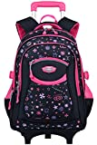 Coofit Cartable a Roulette Fille en Oxford Sac Roulette Fille Cartable Fille College Cartable Fille Primaire Sac a Dos Enfant...