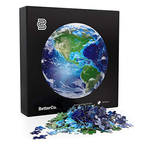 The Planet Earth Round Puzzle - BetterCo. Difficult Jigsaw Puzzles 500 Pieces - Challenge Yourself with 500 Piece Puzzles for Adults, Teens, and Kids - Planet Earth Globe Puzzle
