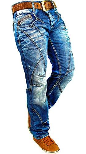 Cipo & Baxx Herren Jeans Denim Biker Streatwear Freizeit-hose Clubwear Bestseller Dicke Naht Streetwear Dope Swag, Blau, 36W / 34L