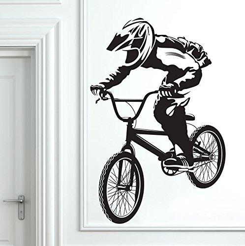 mlpnko Habitación Infantil habitación para niños decoración de Arte de Pared Decorativa Bicicleta BMX Pegatinas de Pared Papel Pintado extraíble 75x113cm