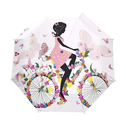 Paraguas Plegable Chica En Bicicleta con Un Paraguas Romántico De Mariposas para...
