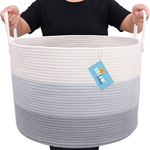 OrganiHaus Canastas Organizadoras Extra Grande XXL – Elegante Cesta Decorativa de Cuerda con algodón 100% Natural y ecológica| Cesto Lavandería, Cesto Juguetes, Cesto almacenamiento para almohadas.
