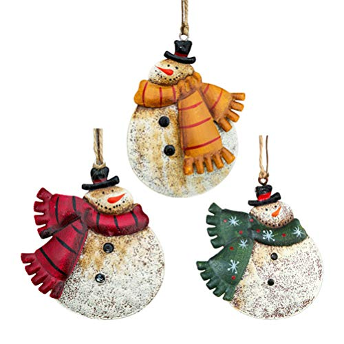 Amosfun 3pcs Christmas Tree Decorations Hanging Snowman Ornaments Vintage Rustic Christmas Decorations