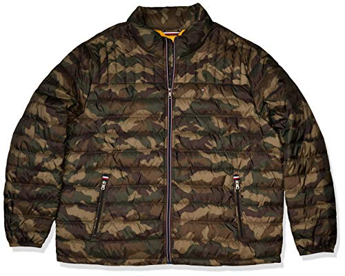Tommy Hilfiger Men's Real Down Packable Puffer Jacket, Camouflage, 2X-Large Tall