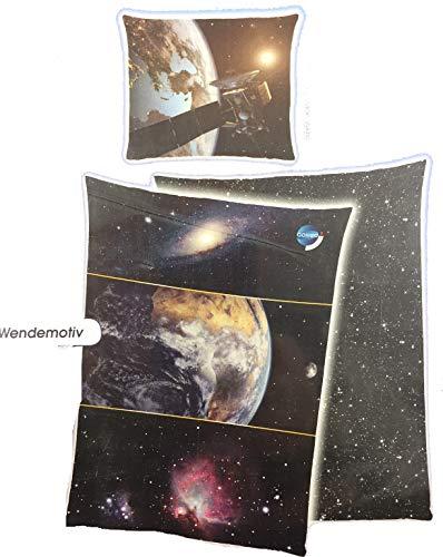 Galileo Space Bettwäsche Universum mit Wissenskarte, Wendemotiv mit Leuchteffekt im Dunkeln Bezug 135x200cm Kissen 80x80cm 100% Baumwolle mit Reißverschluss